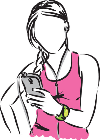 woman cell phone: woman with intelligent phone illustration Illustration