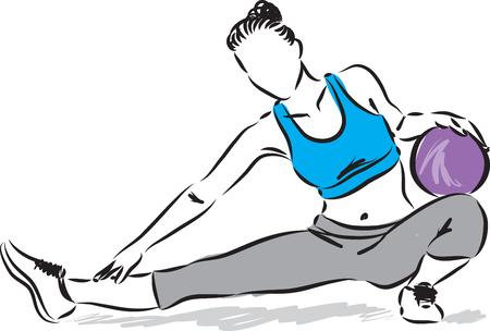 mujer de la aptitud con la ilustración de la pelota