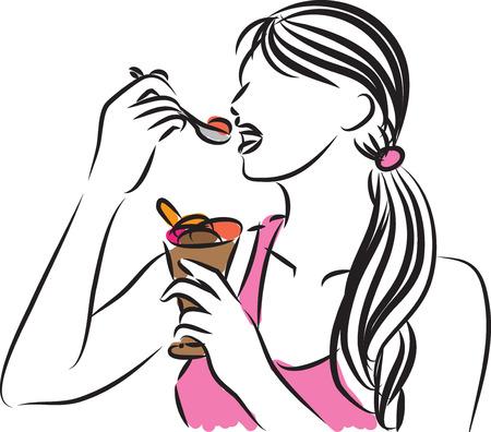eating ice cream: pretty woman eating ice cream illustration