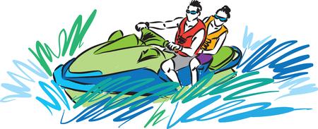 couple in jet ski illustration Illustration