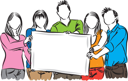 group of people showing white paper illustrator