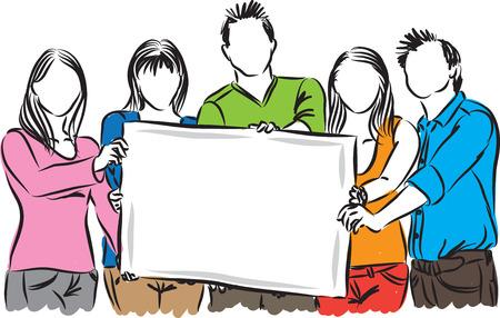 gruppo di persone che mostrano illustratore carta bianca