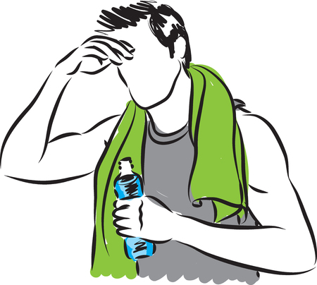 towel: man tired after workout with bottle of water illustration Illustration