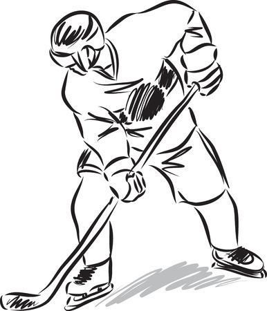 ice hockey player: hockey man player illustration black and white