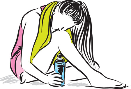 vectored: fitness woman with bottle of water Illustration