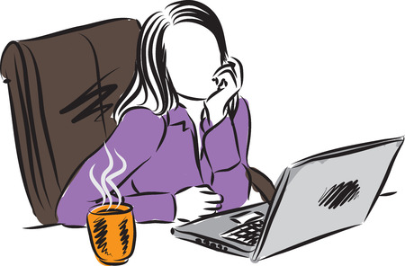 woman computer: woman working at computer illustration