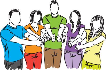 fila de personas: grupo de personas pulgares encima de la ilustración