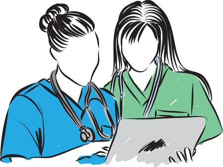 medical staff talking illustration Illustration
