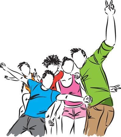 grupo de amigos feliz ilustración Ilustración de vector