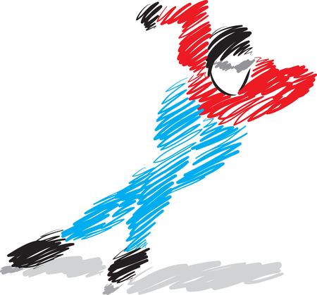 skater: speed man ice skater illustration