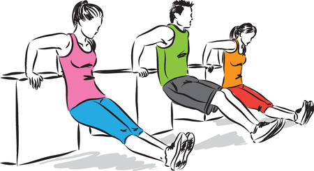 group fitness: group of people fitness illustration
