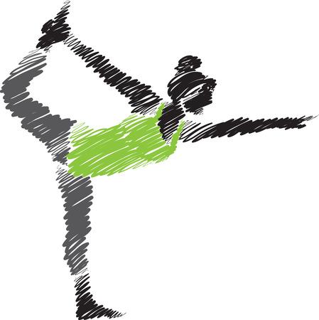 woman yoga posture brush stroke 3 illustration