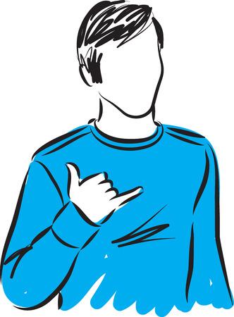 art show: man making surf gesture illustration Illustration
