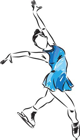 Frau Eiskunstläuferin Illustration