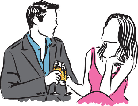 dating: man and woman dating illustration Illustration