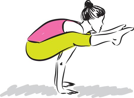 femininity: woman yoga fitness illustration