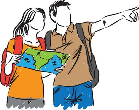 fila de personas: turistas con un mapa ilustración Vectores