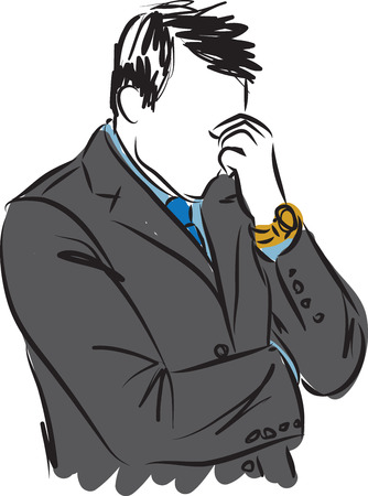 worry: businessman worry gesture illustration