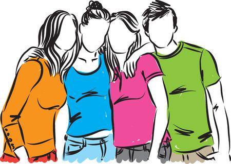 group of teenagers illustration
