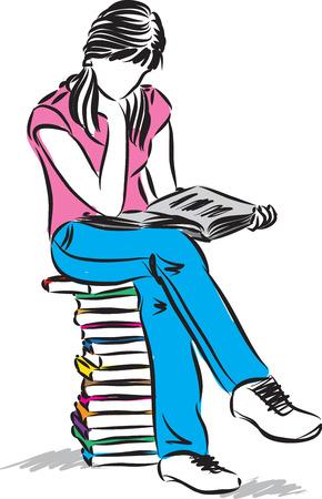 chica adolescente sentado y leyendo la ilustración del libro