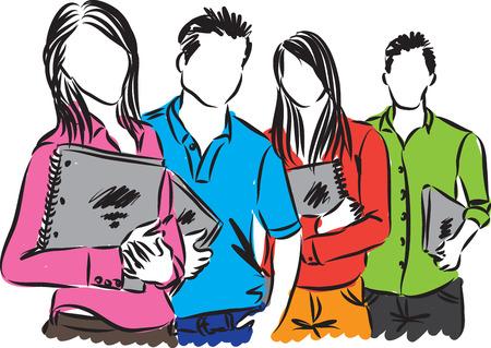 Gruppo di studenti di illustrazione
