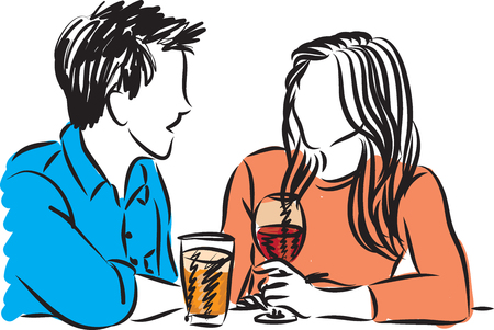 dating: couple man and woman dating illustration