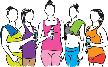 group fitness: FITNESS GROUP OF women ILLUSTRATION Illustration