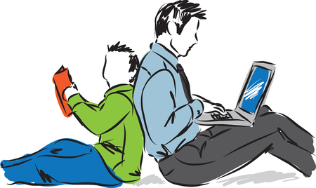 Vector father and son: dad with laptop and son illustration Hình minh hoạ