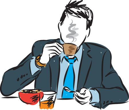 아침 식사 그림을 먹는 사업가 일러스트