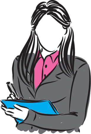 writting: business woman writting note illustration Illustration