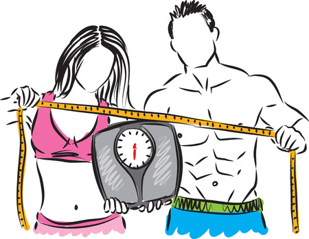 vector image: couple weight control illustration