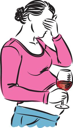 tomando alcohol: mujer embarazada ilustración de beber vino