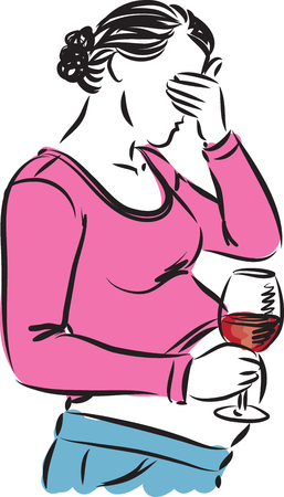drinking alcohol: pregnant woman drinking wine illustration Illustration