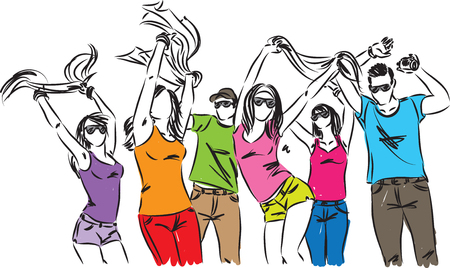 happy people friends dancing illustration