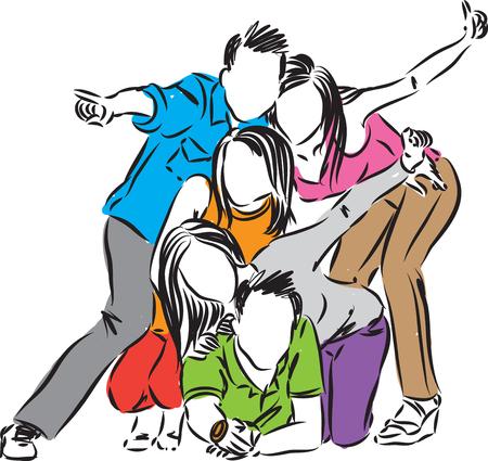 happy group of friends celebration illustration