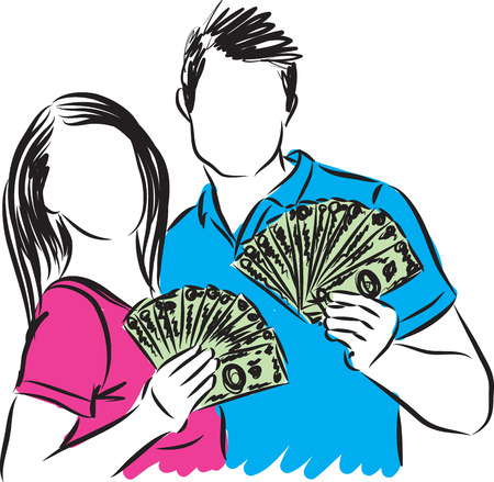 couple man and woman with money illustration