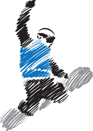 stock clip art icon: snowboard man vector illustration