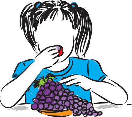 pretty little girl eating grapes illustration Illustration