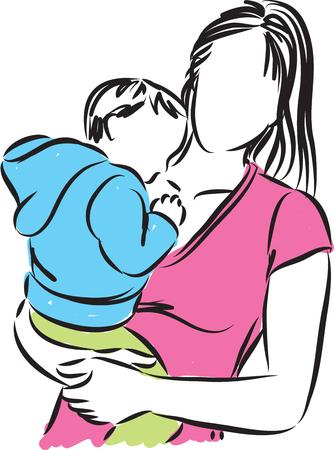 femme dessin: mère et vecteur de bébé illustration