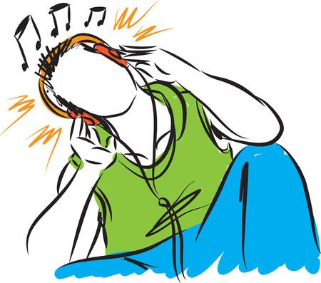 man listening music illustration