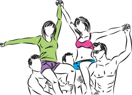 grupo de hombres: grupo de amigos feliz ilustración
