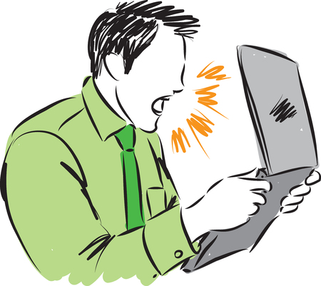 angry man yelling to computer illustration