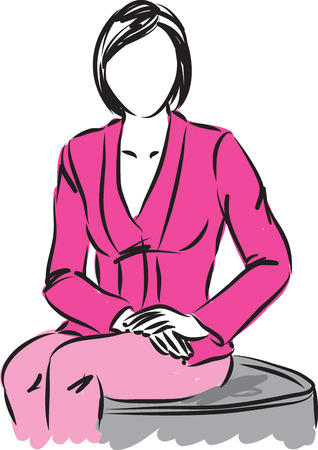 business confidence: business woman sitting illustration Illustration