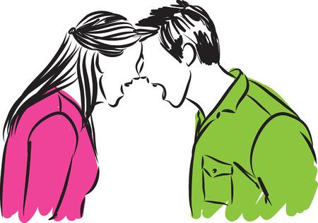 カップルの男と女の図を主張  イラスト・ベクター素材