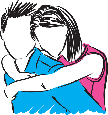 man and woman couple hugging illustration
