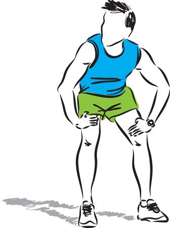 tired man runner illustration Illustration