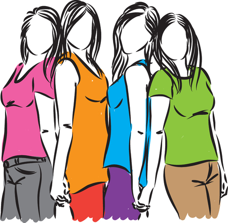 group of women friends illustration