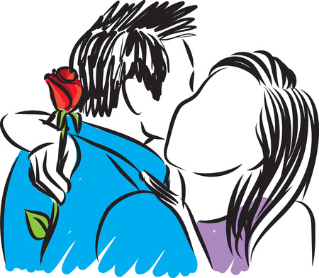 couple hugging with a rose illustration