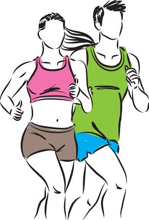 gimnasio ilustración vectorial pareja