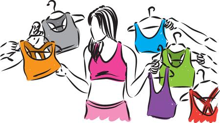 choosing clothes: woman choosing clothes shopping illustration